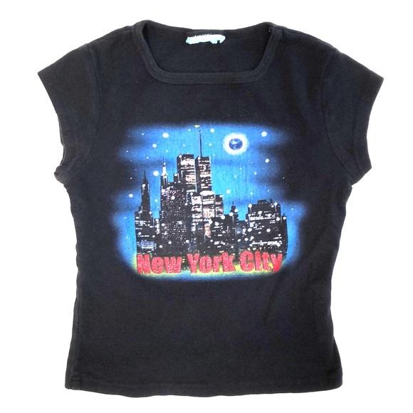 Vtg New York City Glitter Night Skyline Tee Shirt.  M 5a9dd74f331627d9ddb61f0a a3eb472ba31
